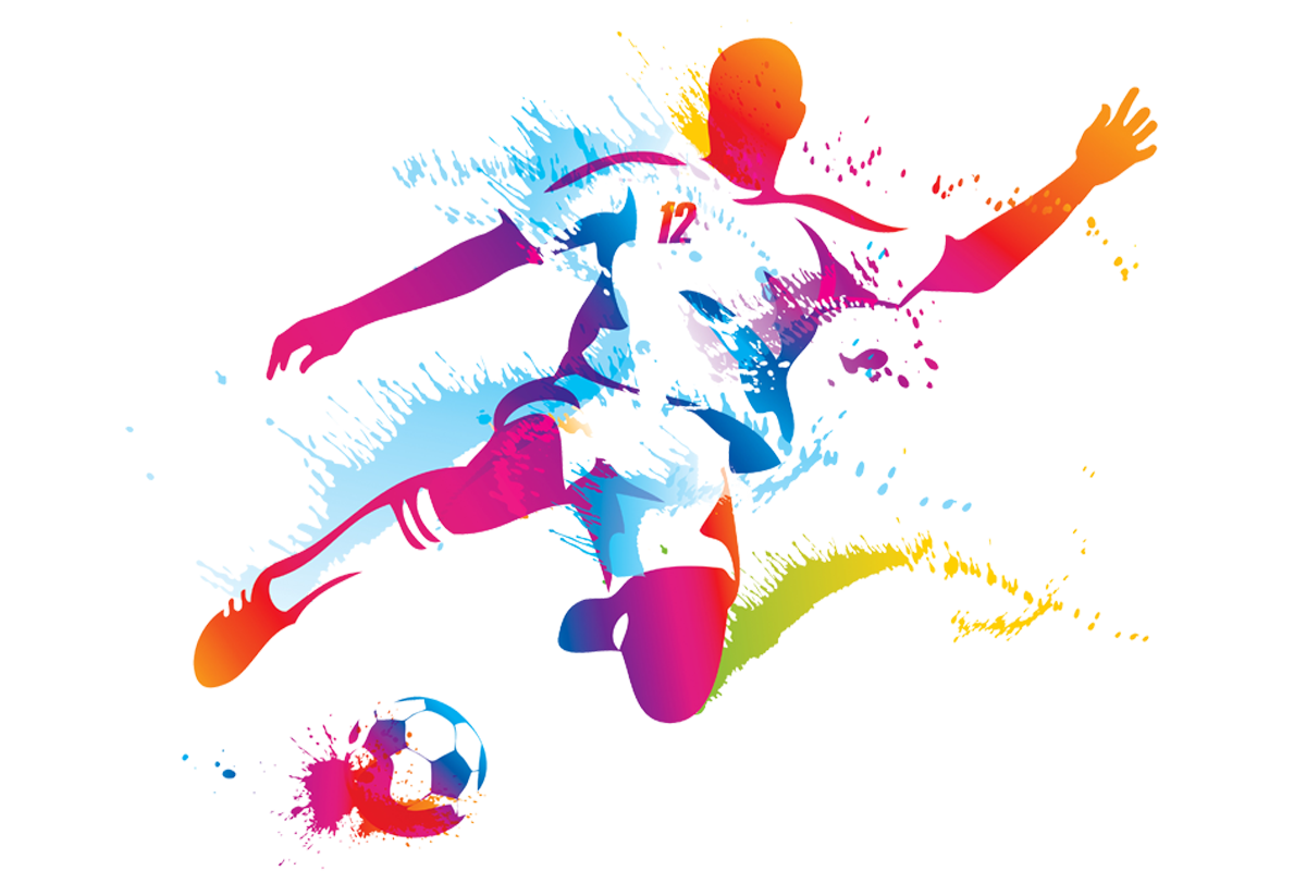colourful football player art